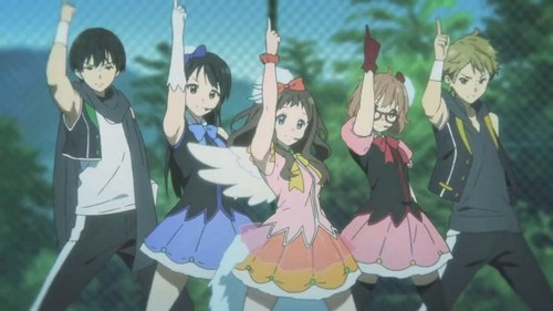 Hiroomi, Mitsuki, Ai, Mirai and Akihito from Kyoukai no Kanata (Beyond the Boundary) dancing and singing...best episode of the anime, it was hilarious.