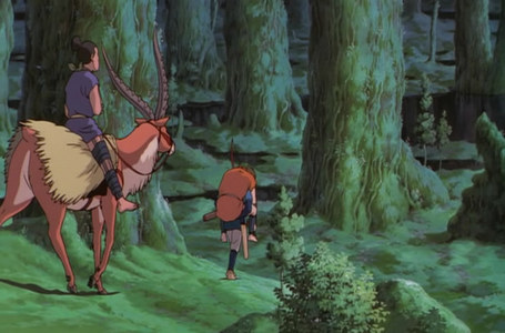 Ashitaka helping injured guys in Princess Mononoke
