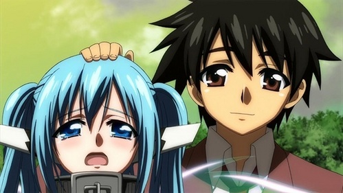 Hope this counts and if I recall correctly: Tomoki petting Nymph on the head to comfort as well as sooth and calm her in Heaven's Lost Property