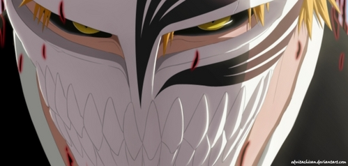Ichigo Kurosaki (Bleach) Ichigo Kurosaki wearing his Hollow mask...........he he eh eh