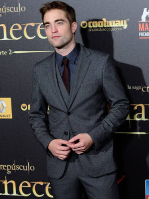 my gorgeous babe in a dark grey suit<3