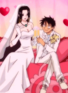 Hancock & Luffy (One Piece) Hancock & Luffy's marriage.............dont get any wrong ideas...........this is not real.....this is one of Hancock's कल्पना dreams.......but i luv it....heh eh eh eh eh