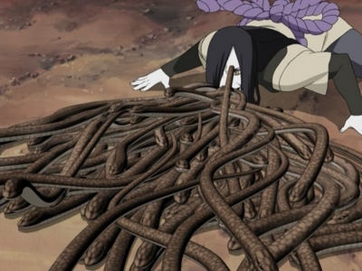 Orochimaru (Naruto Shippuden) Orochimaru puking millions of snakes from his mouth.......actually where r they coming from his stomache....when i saw this scene i was like........i was eating my food.when i saw this i feel like puking.........he he he heh..