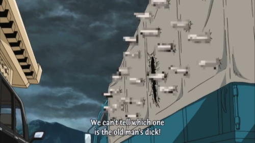 Only in Gintama where this kind of wtf moments happen ~That moment when the owner's body fell through the side of the the truck and all those peniclams went popping out XD