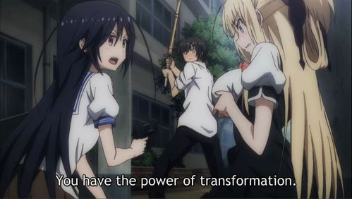 Kurumi Isoshima from Magical Warfare has the power of transformation. Not sure at this point if it's good for anything other than enhancing her bust size. Originally triggered sa pamamagitan ng getting attacked sa pamamagitan ng a magic user.