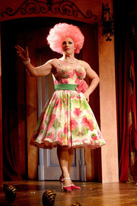 John Barrowman in a ピンク wig and a ピンク flowered dress<3