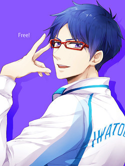 There are a ton with unnatural eye colours.. :P I'll go with Rei from Free! (purple eyes)