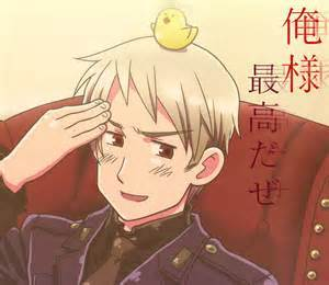 The awesome Prussia. From Hetalia. (He has Red Eyes.""
