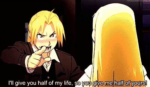 Edward (Fullmetal Alchemist: Brotherhood) blushing while confessing/proposing to Winry