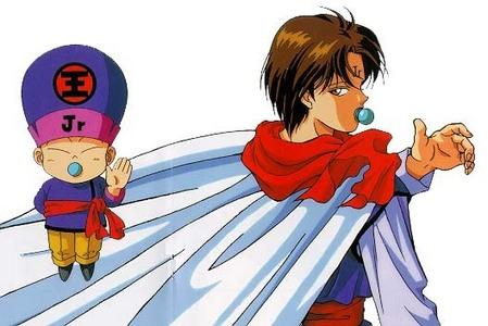 Lukkosai from Ranma 1/2. goku in Dragonball GT. Papa D in the Petshop of Horrors manga. bolacha, biscoito in Hunter x Hunter. Genkai in Yu Yu Hakusho. Koenma from Yu Yu Hakusho.