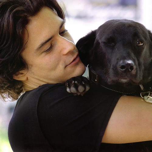 Orlando with his dog Sidi. <3 Orli found Sidi when he was filming Kingdom of Heaven and adopted the dog.