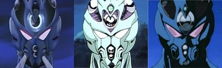 1st panel: Guyver: Out of Control, a 1986 animated feature film 2nd panel: The Guyver: Bio-Booster Armor, a 1989 OVA series 3rd panel: Guyver: The Bioboosted Armor, a 2005 জীবন্ত series
