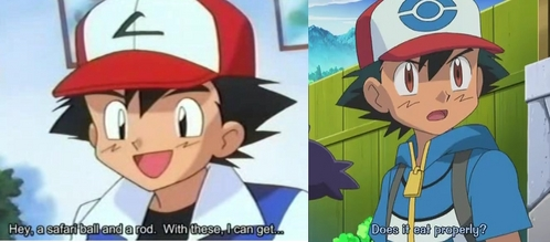 Pokemon's জীবন্ত art has changed over time! On the left is Satoshi-kun (Ash In the english dub) in the Kanto Episodes (Season One) which started in 1997!,and on the right is him in the Isshu region which first aired in 2010..boy did he change a lot!-also hoping this counts..