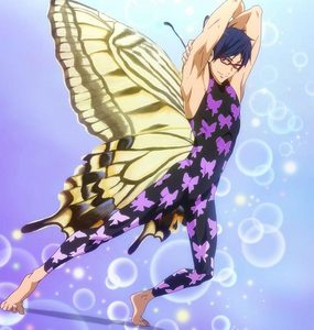 Rei from Free:Iwatobi Swim Club. Sexiest guy with glasses in a تیتلی suit آپ ever did see! XD