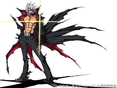 Adam Blade from Needless. He has the ability to absorb and at the same time acquire other Needless abilities/powers simply just by looking at or touching other Needless users