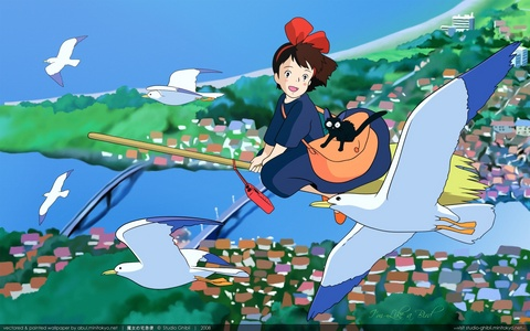 Spirited Away Up On apiun, poppy bukit, hill Howl's Moving kastil, castle hetalia Paint it, White Kiki's Delivery Service
