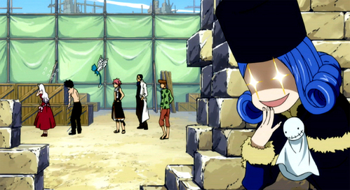 Juvia (Fairy Tail) is often seen stalking and spying on Gray.