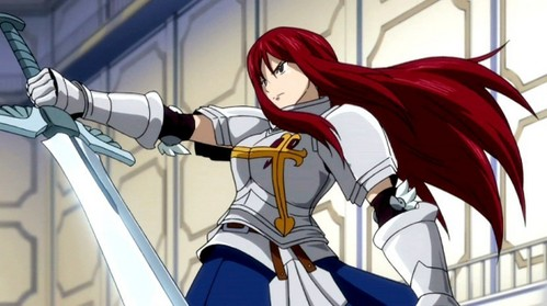 Erza Scarlet (Fairy Tail) Erza have very powerful voice..............