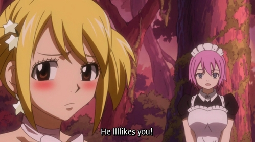 Virgo and Lucy (Fairy Tail) Virgo staring at Lucy and saying that Natsu lllllllikes her!