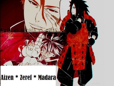 My villain Team  i only need 3 of them they r enough to destroy the world..............he he he he no one can hold a candle to them......they r that powerful.......he he he eh 3 of them r immortal........he he he eh he  1) Sosuke Aizen (Bleach) 2) Madara Uchiha (Naruto Shippuden) 3) Zeref (Fairy Tail)