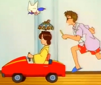 Rei from Kodocha, running aroun in his sleepwear, brushing his teeth, chasing a bat & a woman with a ridiculous hat driving a tiny car through a house. Context: None.