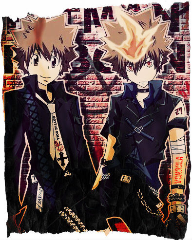 Tsuna from KHR before (left) and after (right) entering his dying will mode