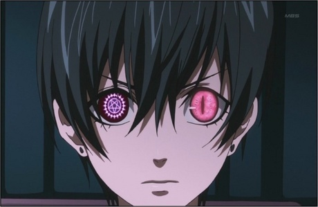 Ciel with both his contract and demon eyes showing