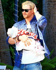 my Aussie hottie Chris Hemsworth wearing a blue plaid shirt<3
