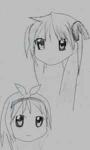 Kagami (top) is serious when it comes to school work, but her twin sister Tsukasa (bottom) can't seem to get her time together, besides being a total goof-ball she's got sweet personality! these two characters are from the Anime series Lucky Star.