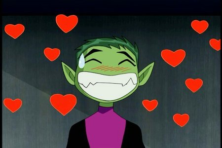 Beast Boy from Teen Titans is my crush. <3 xxxxxxxxx he makes me laugh with his jokes that everyone funds not funny and he makes my 심장 beat faster than it normally does.