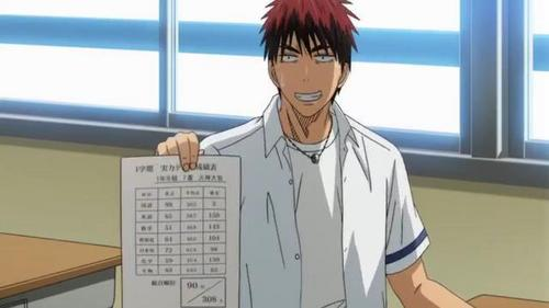 Kagami Taiga (Kuroko no basket) he ispoor in studies he have zero's in most of the papers then his team mates helped him to study everyday hari and night still he forgot all the jawapan on test but luckly kuroko gave midorima's lucky rolling pencil.......bcz of that kagami scored 98/100 in his every exams all thanks to Midorima's lucky rolling pencil...... then kagami's team coach Riko Aida have pretty scores in every test she have perfect scores.......he he he he