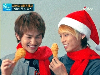 Jonghyun and Onew of course , they are funny and are the smile prince . PS: Chicken is the best