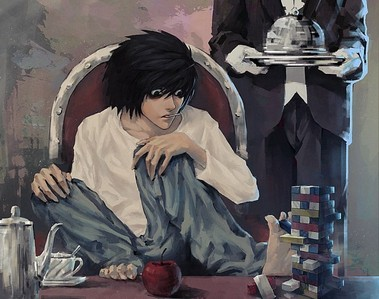 L - Death Note. I used to be completely obsessed with his character. After episode 25 however I started drifting away from him and I started liking Light way the hell more.. and now I hardly like L at all. He's still an awesome character, but not my favourite any more.. ^^'