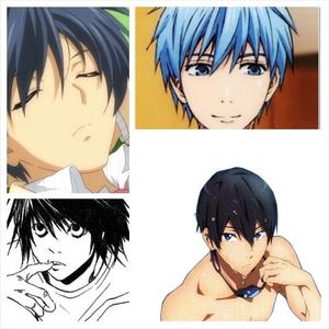 -Kuroko from Kurokos basketbal -Tomoya from CLANNAD -Nanase Haruka from Free! -L from Death Note