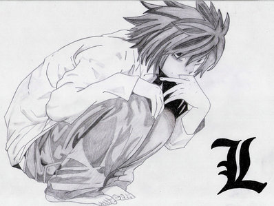 Lawliet Ryuzaki from Death Note. We dress the same and wewe hair is the same. I also sit like him. :3 It's all unintentional, I've been sitting that way my life. :)