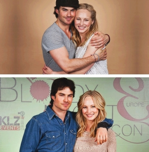 Ian Somerhalder with his Vampire diaries co-star Candice Accola.