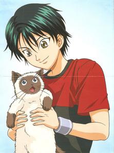 Ryoma Echizen and his Himalayan cat, Karupin from Prince of Tennis...