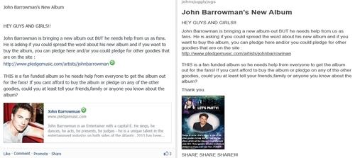 Pledge On John Barrowman's Album posts I made.
