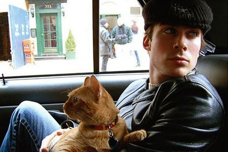 Ian Somerhalder with his cat.