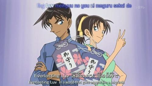 Kazuha Toyama gave the amulet that she made it to her childhood friend Heiji Hattori and one for herself in Detective Conan.