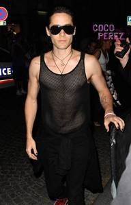 Jared wearing a see through shati which shows his sexy chest<3