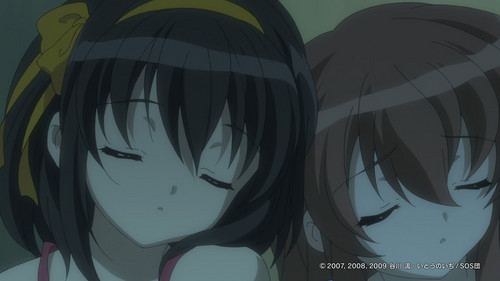 haruhi suzumiya ( on the right is mikuru asahina )