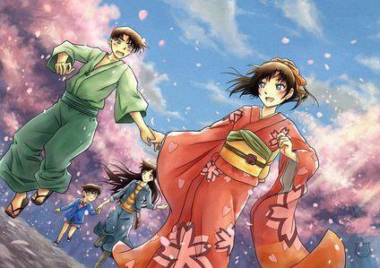 Kazuha Toyama in her sakura-patterned red kimono in Detective Conan
