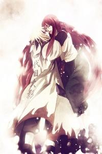 Minato and Kushina from Naruto ; w ; Kushina is the one that's crying ; ^ ;