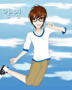 """I used to do traditonal art but now I do computer art. Here is a picture of a korean guy that I saw on the internet. I just drew his hair and the outfit he was wearing. Most of my classmates get skeptical whenever I show them my computer art and they would say that """"I do that to get attention"""" but when I show them the actual sketch some of them get stunned."""