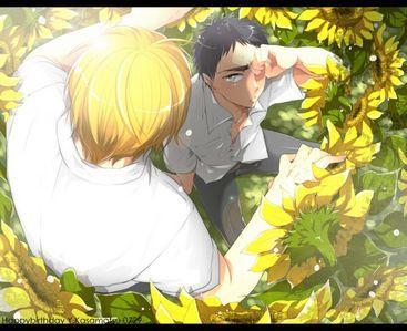 Kasamatsu crying, and Kise found him. ( fanart KnB )