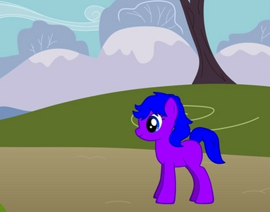 type eart pony, name is midnight giltz, lives in ponyville(originally from canterlot), cutiemark piano with music note(not in pic), bffs: flameshade, grapenote, derpy, fluttershy, rarity and pinkie pie, works at sugarcube corner(plays music), purple with blue mane.