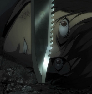 -Samurai Champloo (Epic fight scenes and music right in the first episode. That series was way too short.) -Gurren Laggan (This one is an amazing series.. and the first episode is pretty awesome too.) -Btooom! (Lots happens in the first episode if I recall correctly..) -Deadman Wonderland (Super intense first episode and gory.) -Attack on Titan (I had to re-mention it. That was the most intense and crazy first episode I have ever seen.) -Guilty Crown //I had madami than three.. .u.
