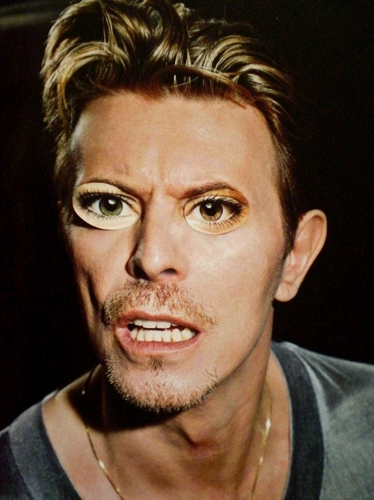 Bowie with paper eyes xD