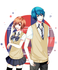 Kaito X Miku, It's suppose to be Meiko X Kaito atau at least Gakupo X Kaito. I don't like Miku's image and appearance because she sometime bump into the middle of my favorit couples, but I cinta her sweet voice and her songs. Baaah
